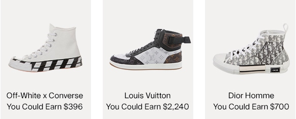 Off-White x Converse, Louis Vuitton & Dior Homme Sneakers & Amounts You Could Earn For Selling