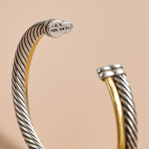 David Yurman Cable Bracelet Closeup on D.Y. Signature