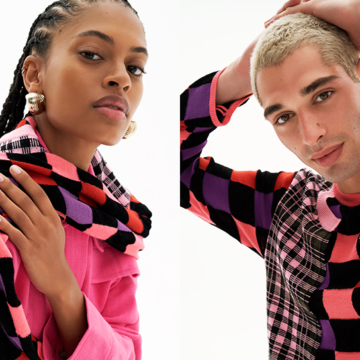 Image of two people in colorful tops