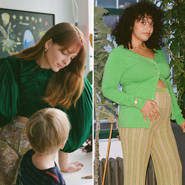 Mother's Day Feature: Three moms, Andrea Laušević, Collier Meyerson, and Stacey Gladstone in different stages of life with their children wearing designer clothes. Photographs by Mary Manning