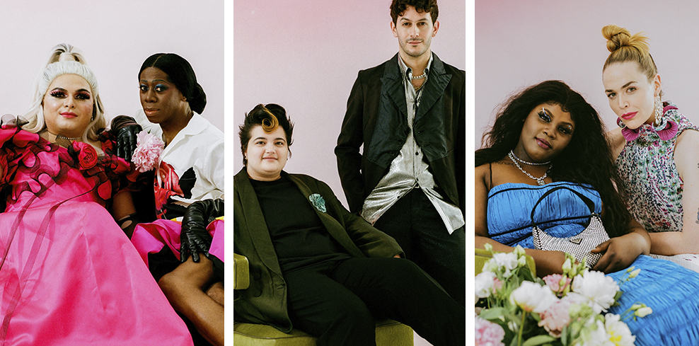 3 images collaged together. Photographs by Hunter Abrams. From left: Aniel Gonzalez in a pink gown with black trimmed ruffles and long, black gloves. Sits with Miss J Alexander wearing a rainbow striped full-length skirt by Christopher John Rogers, a white button down shirt with a red rose printed on the front, and long, black gloves. In the center, Lukas Petroski sits on a green velvet chair and wears an olive green suit jacket with a turquoise blue green fabric flower brooch on his lapel with a black t-shirt underneath. Alex Tudela stands to the right, wearing a black suit jacket and trousers with a silver, lame button down shirt, untucked. On the right, Taylor Collins Allen sits in a green velvet chair with a pink ombre background and flowers in front. Taylor wears a blue, ruched gown with black trim, a diamond necklace with a silver-tone lock pendant, and is holding a crystal-covered Prada nylon shoulder bag. Willie Norris sits with Taylor and wears pearl and diamond chandelier earrings, a sleeveless, ruffle-neck printed and magenta dress, an emerald and diamond ring, and diamond bracelets. All images were taken in front of a pink ombre background.