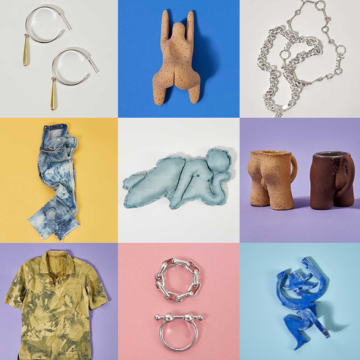 Curated by The RealReal art and jewelry by queer makers and artists. They include Alex Schmidt, Edgar Mosa, Alubowicz, and Intimate Revolution. photographed on bright, colorful backgrounds and arranged in a grid.