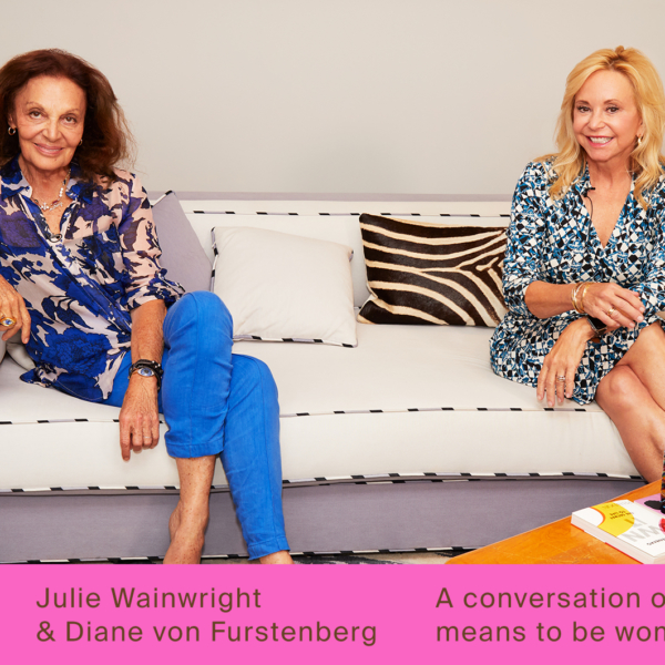 Diane von Furstenberg and Julie Wainwright sitting on a sofa before their conversation with fashion journalist Alix Browne for real talk, a series from The RealReal